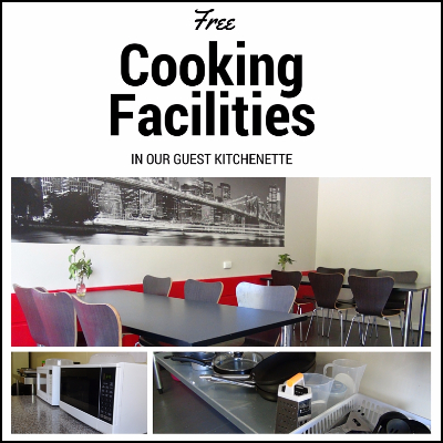 Free cooking facilities in our Guest Kitchenette